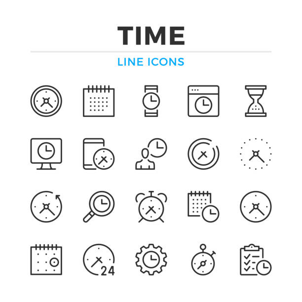 illustrazioni stock, clip art, cartoni animati e icone di tendenza di time line icons set. modern outline elements, graphic design concepts. stroke, linear style. simple symbols collection. vector line icons - icona line