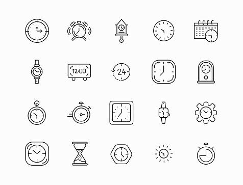 Time line icons set. Modern outline elements, graphic design concepts