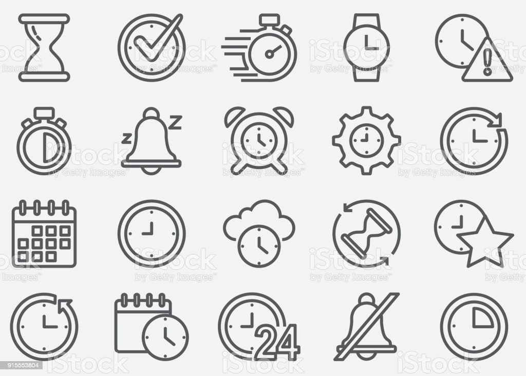 Time Line Icons vector art illustration