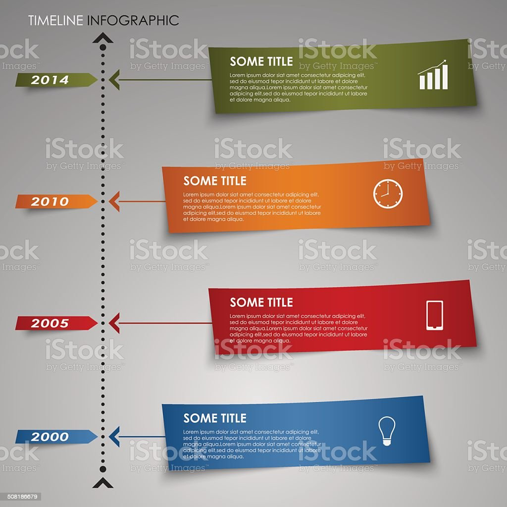 Time line info graphic colored striped paper template vector art illustration