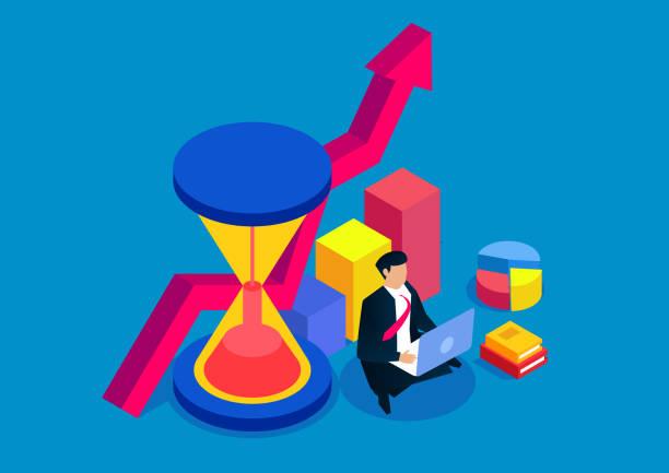 Zeitmanagement und Business Development Plan – Vektorgrafik