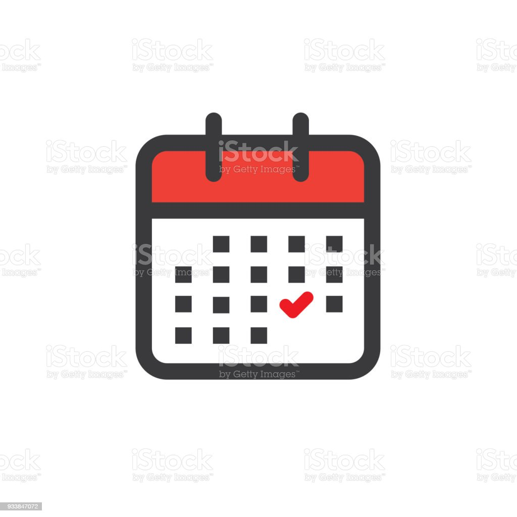 Time management and Schedule icon for upcoming event vector art illustration