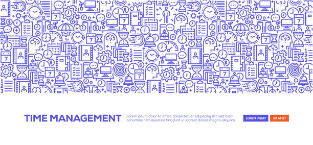 Time Management Banner Time Management Banner busy stock illustrations