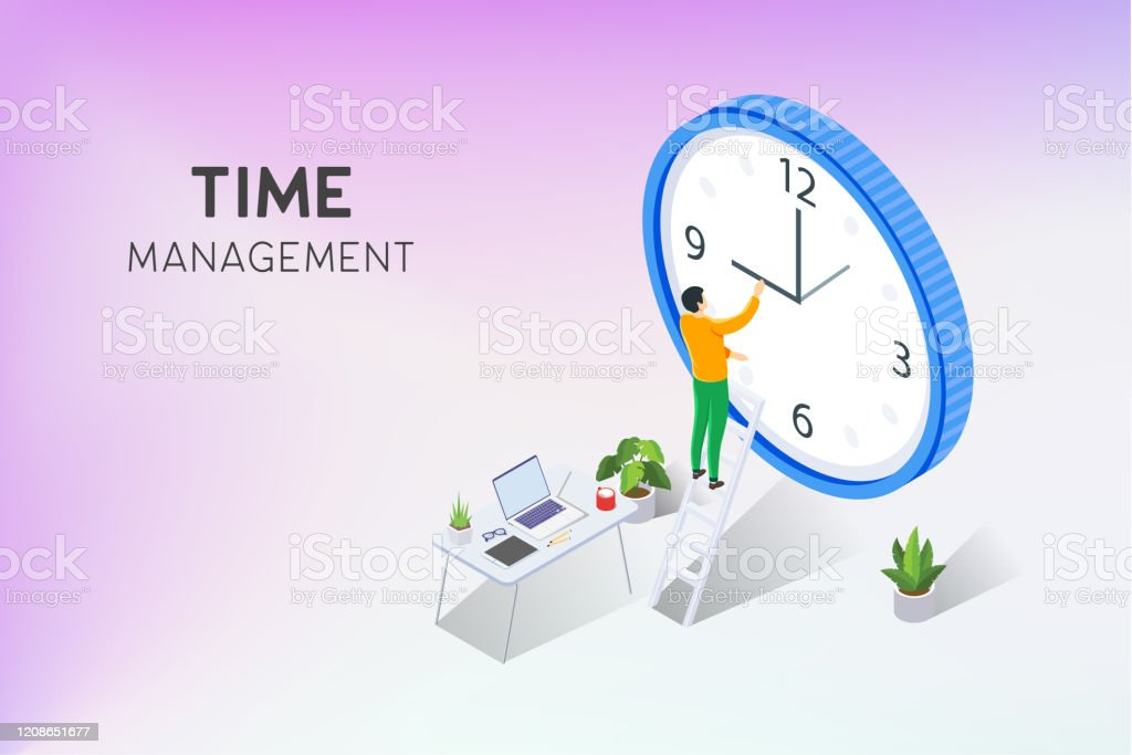 Time Management Banner With Character And Text Place Professional Employee Agency Workspace Vector Illustration Schedule Set For Work Timer Isometric Vector Freelance Workspace Room Stock Illustration Download Image Now Istock