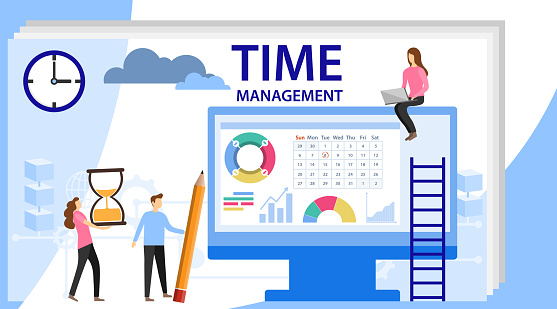 Time Management Banner With Character Isolated Schedule Concept Or Planner Planning Sticker Management Images Time Management Control Stock Illustration Download Image Now Istock