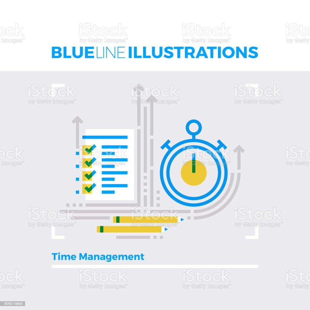 Time Management Blue Line Illustration vector art illustration