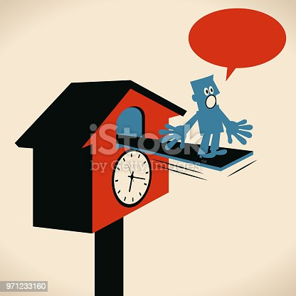 Blue Little Guy Characters Vector art illustration.Copy Space. Time Management, businessman appearing from a big cuckoo clock and telling time.