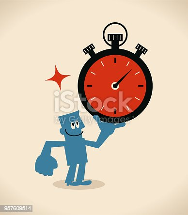 Blue Little Guy Characters Full Length Vector art illustration.Copy Space. Time Management, businessman showing a big stopwatch.