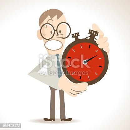 Business Man Characters with Glasses Manga Style Cartoon Vector art illustration.Copy Space, Full Length, White Background. Time Management, businessman (student) showing a big stopwatch.