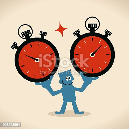 Businessman Characters Vector art illustration.Copy Space, Full Length. Time Management, businessman showing two big stopwatches.