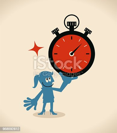Businessman Characters Vector art illustration.Copy Space, Full Length. Time Management, businesswoman showing a big stopwatch.