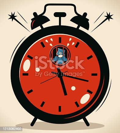 Blue Little Guy Characters Vector Art Illustration. Time Management concept, blue man is held in a big alarm clock prison cell.