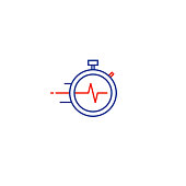 Time management concept, fast delivery services linear icon