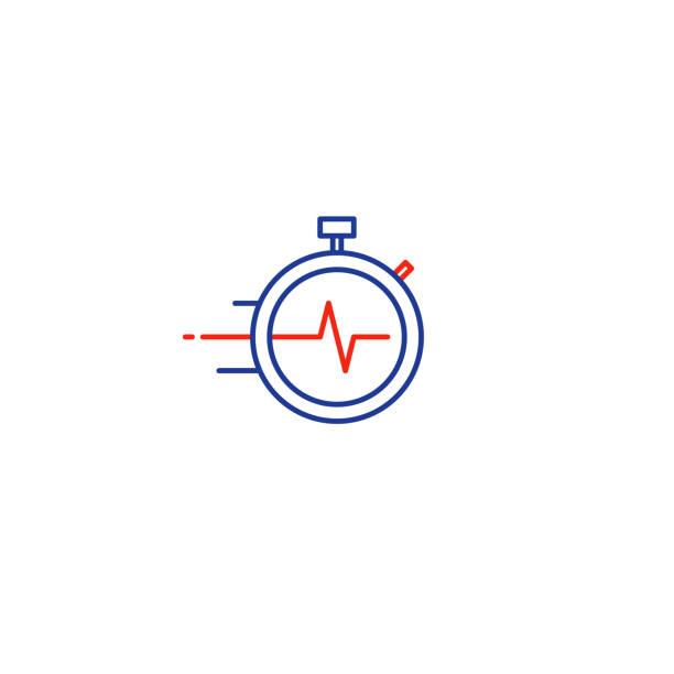 illustrations, cliparts, dessins animés et icônes de concept de temps de gestion, services de livraison rapide icône linéaire - chrono sport