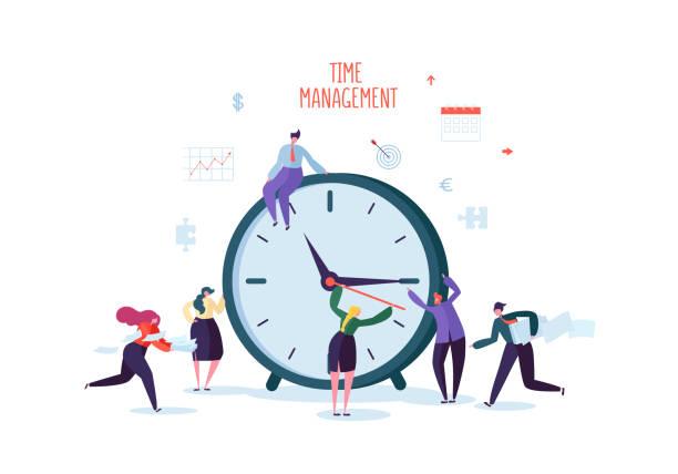 illustrazioni stock, clip art, cartoni animati e icone di tendenza di time management concept. flat characters organization process. business people working together team work. vector illustration - data