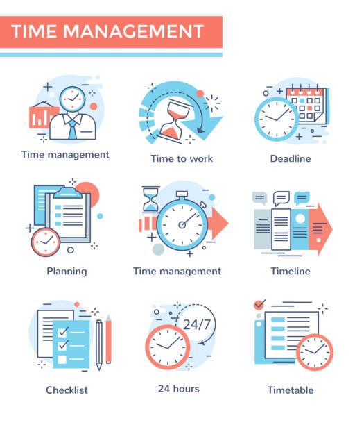 Time management concept icons. Time management concept icons, thin line color set, flat design time is money stock illustrations