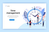 Time management concept illustration, perfect for web design, banner, mobile app, landing page, vector flat design