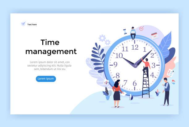 Time management concept illustration. Time management concept illustration, perfect for web design, banner, mobile app, landing page, vector flat design time is money stock illustrations
