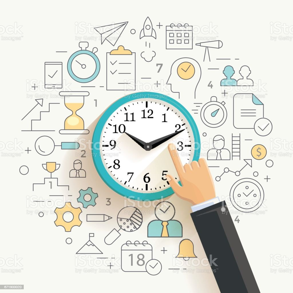 Time management concept illustration. vector art illustration