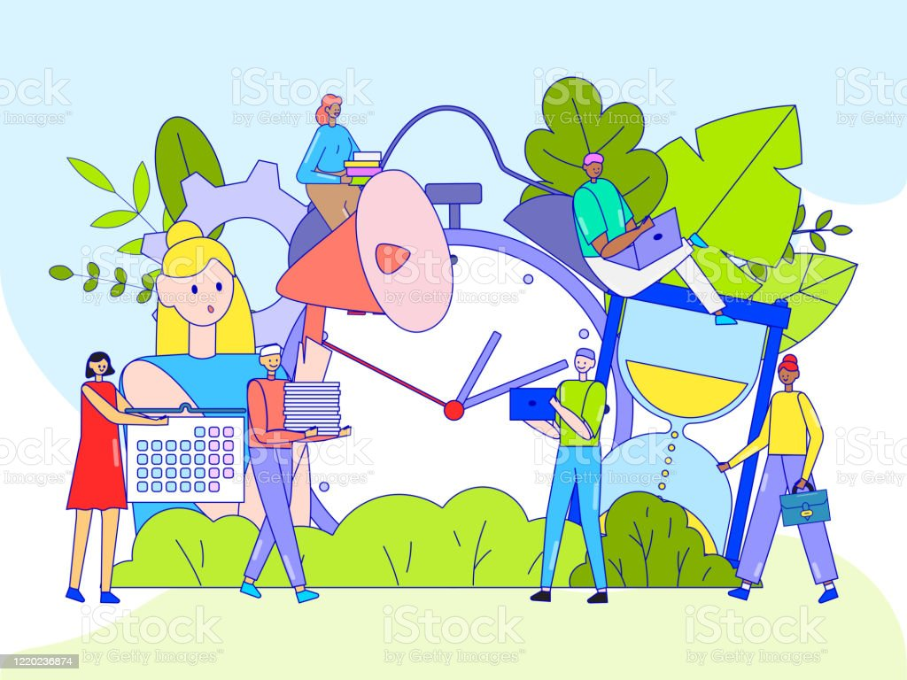 Time Management Concept Tiny People Cartoon Characters Business Planning Vector Illustration Stock Illustration Download Image Now Istock