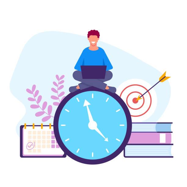 illustrazioni stock, clip art, cartoni animati e icone di tendenza di time management concept. vector flat graphic design isolated illustration - banchi scuola