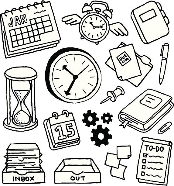 Time Management Doodles Productivity and time management doodles. book drawings stock illustrations