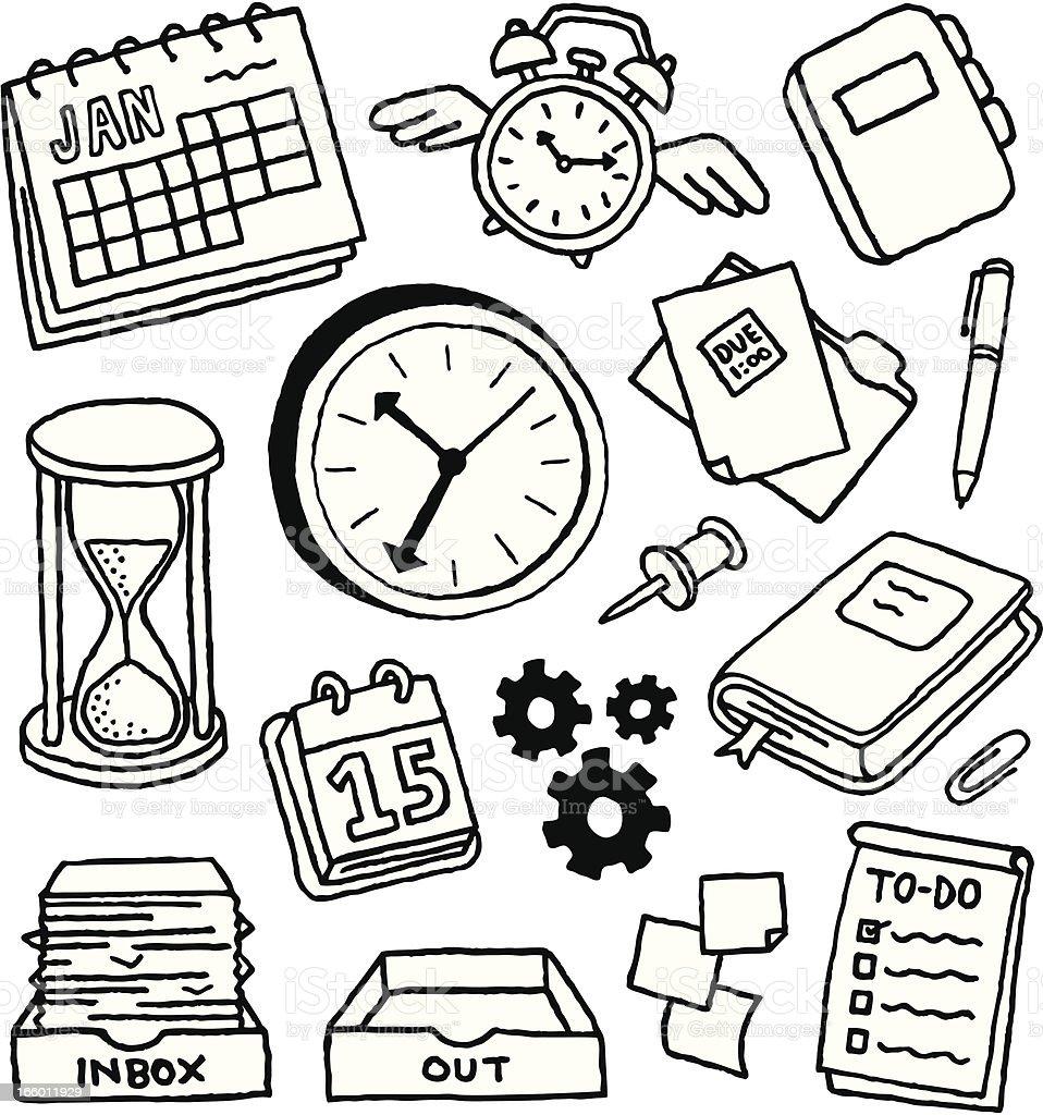 Time Management Doodles vector art illustration
