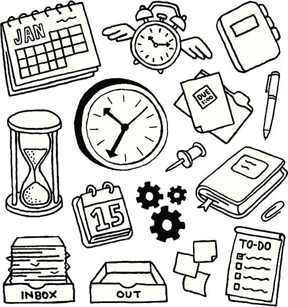 stockillustraties, clipart, cartoons en iconen met time management doodles - potloodtekening
