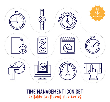 Time management vector icons set for logo, emblem or symbol use. This collection is part of single line minimalist drawing series with editable strokes.