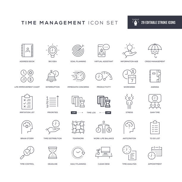 Time Management Editable Stroke Line Icons 29 Time Management Icons - Editable Stroke - Easy to edit and customize - You can easily customize the stroke with crisis stock illustrations