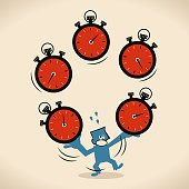 Blue Little Guy Characters Full Length Vector art illustration.Copy Space. Time Management, exhausted businessman juggling with big stopwatches.