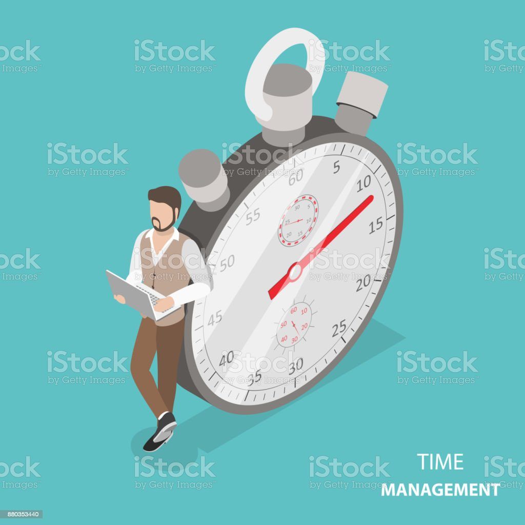 Time management flat isometric vector concept vector art illustration