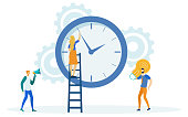 istock Time Management, Girl on Ladder Changing Time. 1208274403