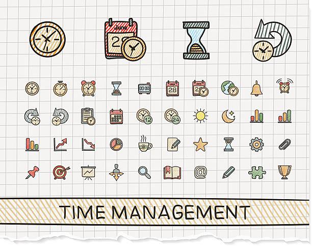 illustrations, cliparts, dessins animés et icônes de gestion du temps dessin de la main line icons. vecteur doodle set pictogram - calendrier de l'avant