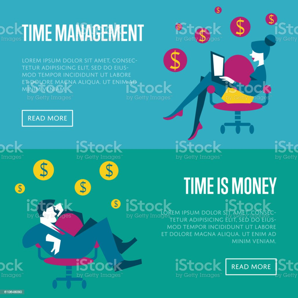 time management horizontal website templates ひらめきのベクター