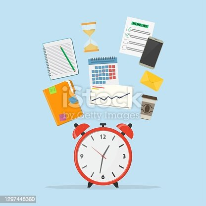istock Time management icon. Concept planning, time organization of working day. A set of elements for infographic: alarm clock, diary, calendar, phone, to do list, envelope, hourglass, coffee cup. 1297448360