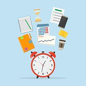 Time management icon. Concept planning, time organization of working day. A set of elements for infographic: alarm clock, diary, calendar, phone, to do list, envelope, hourglass, coffee cup. Vector illustration