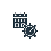 istock time management icon. Glyph time management icon for website design and mobile, app development, print. time management icon from filled marketing and seo collection isolated on white background.. 1324526412