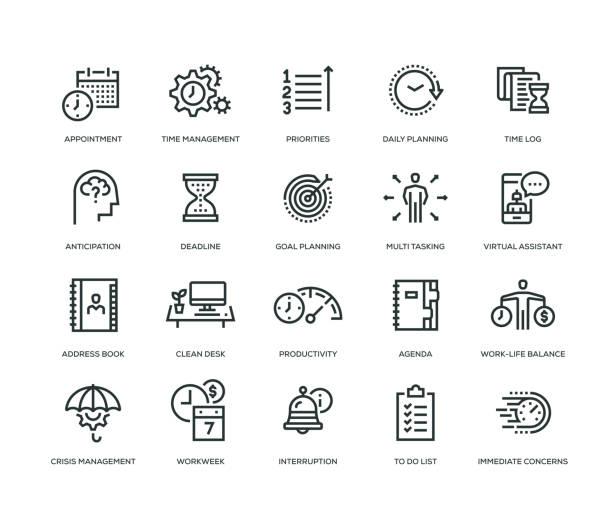 시간 관리 아이콘 세트 - 일과 stock illustrations