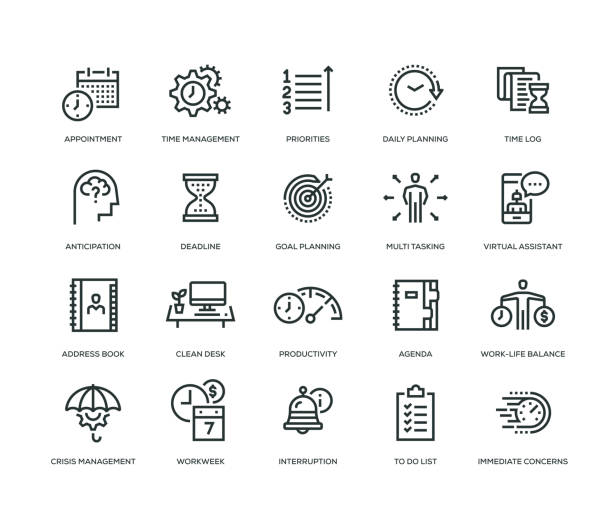 time management icon set - office job stock illustrations, clip art, cartoons, & icons