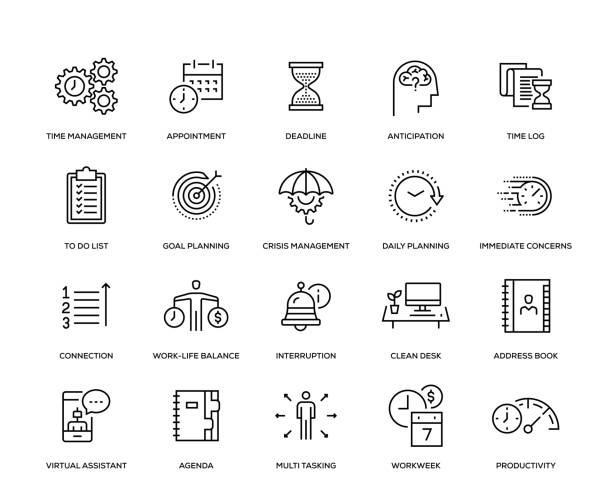 Time Management Icon Set Time Management Icon Set - Thin Line Series crisis stock illustrations