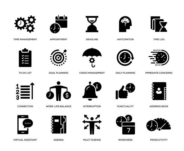 Time Management Icon Set Time Management Icon Set crisis stock illustrations