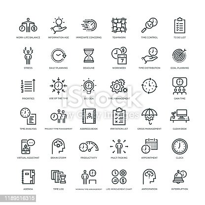 36 Time Management Icons - Line Series