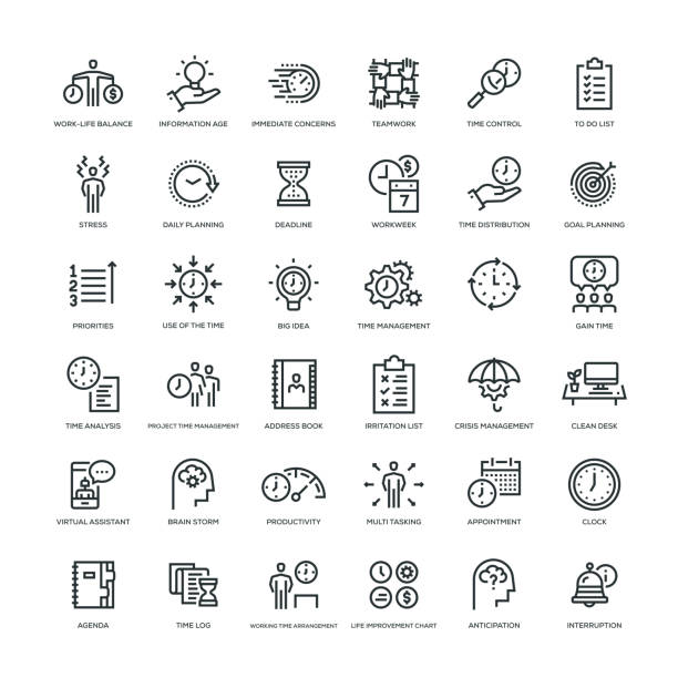 Time Management Icon Set 36 Time Management Icons - Line Series crisis stock illustrations