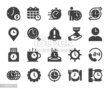 Time Management Icons Vector EPS File.
