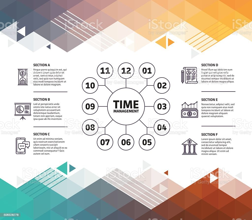 Time Management Infographic Abstract Background vector art illustration