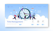 Time Management Landing Page Template. Planning and Strategy Website Layout with Flat People Characters and Clock. Easy to Edit and Customize Mobile Web Site. Vector illustration