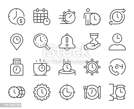 Time Management Light Line Icons Vector EPS File.