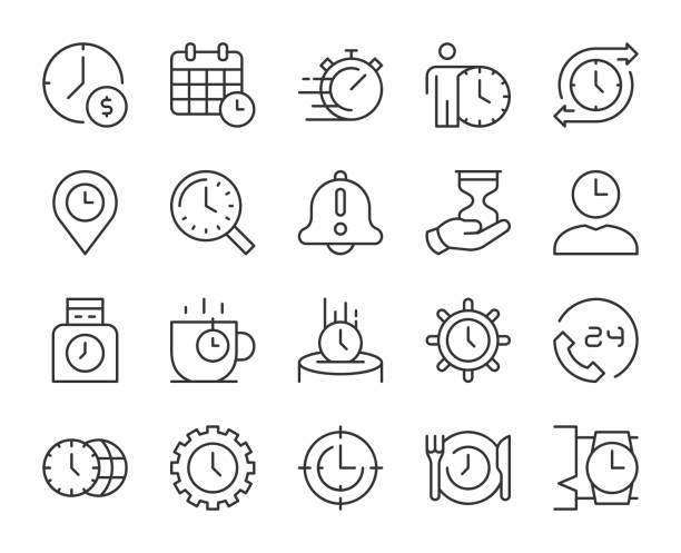 Time Management - Light Line Icons vector art illustration