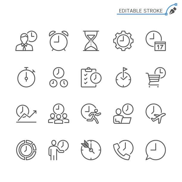 bildbanksillustrationer, clip art samt tecknat material och ikoner med tid förvaltning linje ikoner. redigerbara stroke. pixel perfekt. - calendar workout